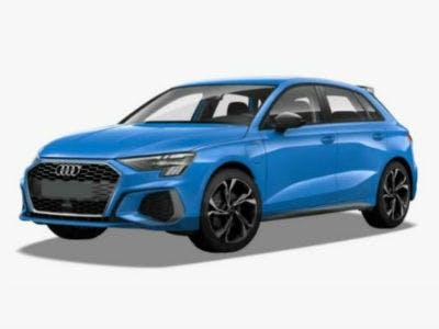 Audi A3 mit blauer Farbe auf einem grauen Hintergrund