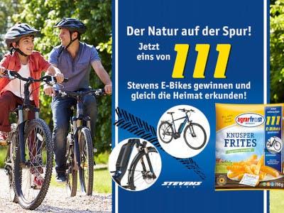Fahrradfahrer und ein blaues Feld mit Aktionsdetails