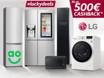 Haushaltsgeräte im Bild, Logos ao, LG, luckydeals und der Aktionsbutton