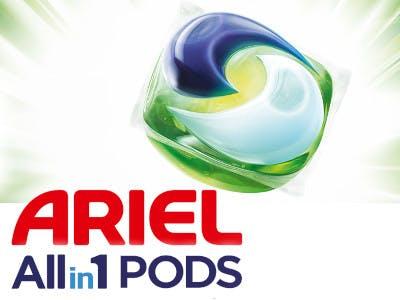 Ariel All in 1 Pod auf der rechten Bild-Seite, unten links der Slogan Ariel All in 1 Pods