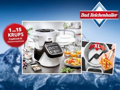 Blauer Hintergrund, Küchenmaschine im Bild und der Aktionsbutton, oben rechts das Bad Reichenhaller Logo