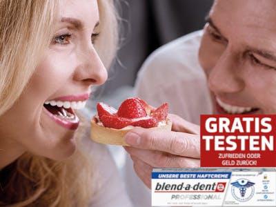 Frau und Mann im Bild, Frau zeigt Zähne, unten rechts eine Packung Blendadent und der Aktionsslogan