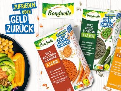 """Bonduelle Produkte, das Logo oben in der Mitte, links oben der Aktions-Slogan """"Zufrieden oder Geld zurück"""""""