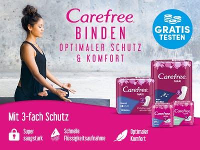 Unten im Bild pinker Hintergrund mit Produktbeschreibung, oben rechts Gratis-Testen-Button, links im Bild meditierende, schwarz gekleidete Frau
