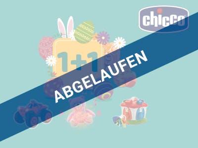 Chicco Spielzeug auf türkisem Untergrund, oben rechts das Chicco Logo