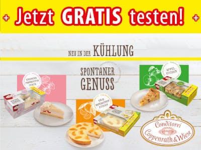 Coppenrath & Wiese Produkte, unten rechts das Logo, oben ein gelber Gratis-Testen-Balken