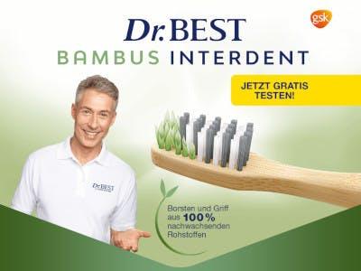 Grün-weisses Bild mit dem jungen Dr.Best ein bisschen Schrift und der Bambus Zahnbürste