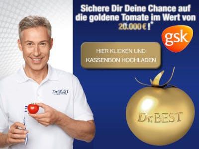 Dr.Best Junior mit der Zahnbürste links im Bild, rechts blauer Hintergrund mit der goldenen Tomate, dem Teilnahmebutton und der Beschreibung - weiße Schrift