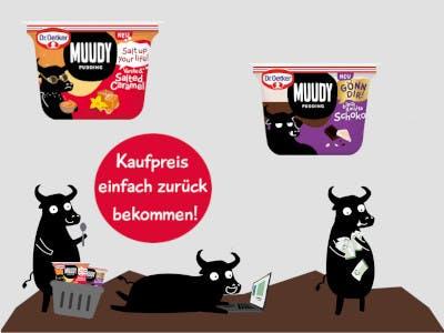 Graues Bild mit zwei muudy Produkten, unten im Bild schwarz gezeichnete Kühe und darüber ein roter Geld zurück Button