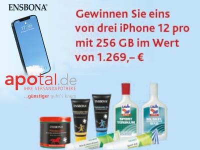 Hellblaues Bild, links ist das zu gewinnende iPhone abgebildet, unten die Produkte