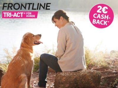 Frau mit Hund im Bild, oben rechts der Aktionsbutton, oben links das Frontline Logo