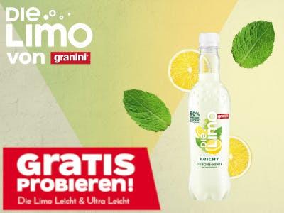 Granini Limo Logo oben links, rechts eine Flasche, unten links in Rot der Aktionsbutton