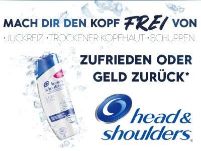 """Heller Hintergrund, links im Bild eine head&shouldes Flasche, rechts unten das Logo, darüber die """"Zufrieden oder Geld zurück"""" Schrift.Oben im Bild der Slogan """"Mach Dir den Kopf frei"""""""