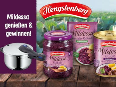 Hengstenberg Mildessa Produkte, Links im Bild ein WMF Kochtopf - der Gewinn