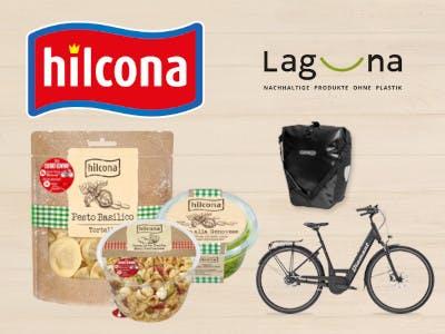 Hilcona-Produkte, Hilcona-Logo oben links, rechts die möglichen Gewinne
