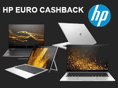 HP Rechner, hp-Logo, Schrift: HP EURO CASHBACK