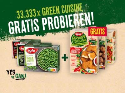Grün-gelber Bildhintergrund, Iglo Gemüse und Iglo Green Cuisine im Bild, unten der Aktionsslogan Yes We Gan, oben Gratis Probieren