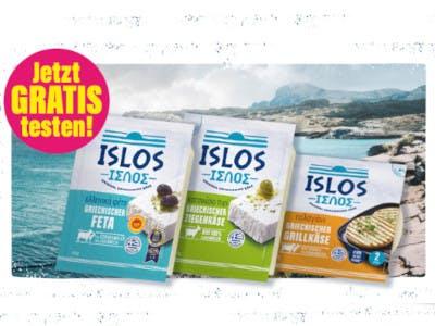 3 Packungen ISLOS Käse, links oben Aktionsbutton