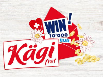 Helles Bild mit dem Kägi Logo - WIN 10.000 mittig im Bild