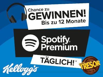 """Blauer Hintergrund,unten rechts Tresor-Logo, unten links Kelloggs-Logo, Bildmitte """"Spotify Premium"""""""