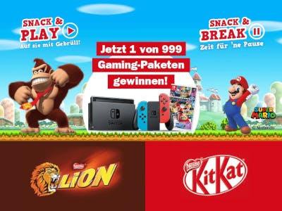 Buntes Bild mit Super Mario und Donkey Kong. Lion- und KitKat Logos im Bild unten, Schrift in der Bildmitte