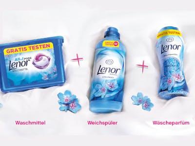 Helles Bild mit Lenor-Produkten