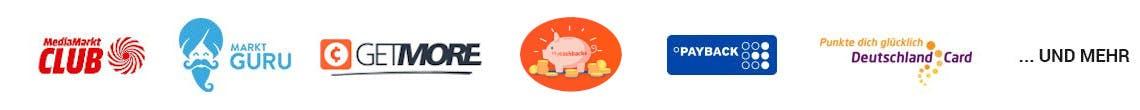 Logos von einigen Cashback-Anbietern: Marktguru, mycashbacks, Payback, DeutschlandCard und mehr