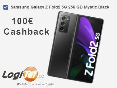 Samsung Galaxy Z Fold2 Telefon groß im Bild, Aktionsbeschreibung rundherum