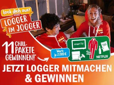 Roter Hintergrund, große weiße Schrift mit Gewinnspielbeschreibung, Mann und Frau lachend auf der rechten Bildseite