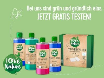 Hellgrünes Bild, love nature Produkte im Bild, Aktionsslogan oben im Bild, unten links das Love Nature Logo