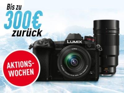 Lumix Kamera, roter Aktionsbutton und 300 Euro