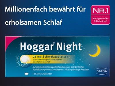Eine Hoggar Night Verpackung, darüber der Werbeslogan