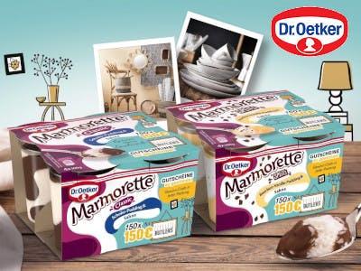 Zwei Marmorette-Packungen füllen das Bild aus, oben rechts das Dr. Oetker Logo, der Hintergrund stilisiert ein Zimmer