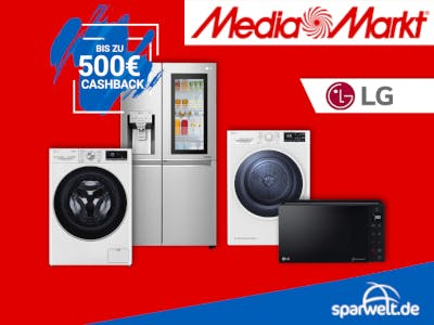 Rotes Bild mit LG Großgeräten, Mediamarkt-Logo und dem Sparwelt Logo auf blau unten rechts