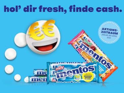 Hellblauer Bildhintergrund, Mentos Packungen, Smiley mit Euro-Augen links im Bild, rechts der Aktionsbutton