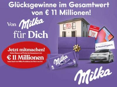 Lila Hintergrund, Gewinnspiel-Slogan links mittig, darunter ovaler, roter Button 11 Millionen, Milka Logo mehrmals sichtbar