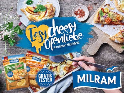Lebensmittel und Zubehör im Bild, unten rechts das Milram Logo, mittig der Aktionsbutton