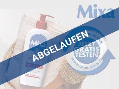 Mixa Lotion, das Logo und der Aktionsbutton