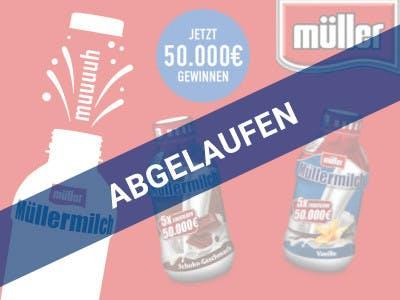 Oranger Hintergrund, oben rechts das Müller-Logo, rechts Symbol-Flasche, oben mittig der Aktions-Slogan, unten zwei Müller-Milch Beispielflaschen