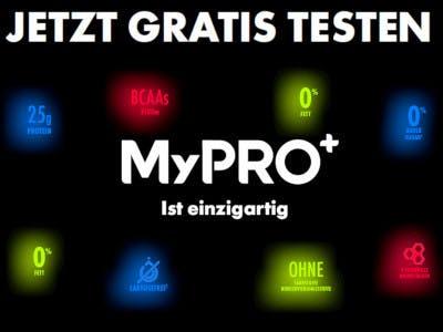 Schwarzer Hintergrund, in der Mitte das MyPro+ Logo, rundherum drapiert die Vorteile und Unhaltsstoffe, Oben der Gratis-Testen-Slogan