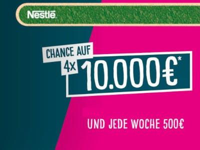 Bildhintergrund rechts pink und inks dunkelblau, oben ein grüner Balken mit dem Nestle Logo, mitten im Bild der Gewinnslogan