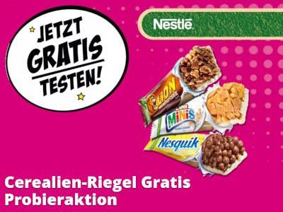Bild in Pink, großer, weißer Button: Jetzt Gratis Testen, unten Slogan, rechts drei Cerealien Riegel