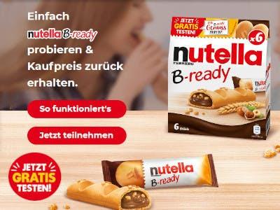 Nutella b-ready Packung, Schrift und Aktionsbutton