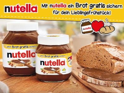 Zwei Nutella-Gläser links im Bild, Brot und mit Nutella beschmierte Brotscheibe rechts im BIld, oben Aktions-Slogan und Nutella-Logo auf gelbem Grund