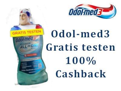 Odol med3 Mundspülung Flasche mit Aktionsanhänger links im Bild, oben rechts das odol med3 Logo, darunter der Gratis-testen-Text