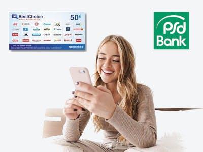 Helles Bild, Frau mit Smartphone mittig im Bild, rechts im Bild das PSD Logo, links der BestChoice Gutschein