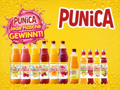 """Mehrere Punica Flaschen auf gelben Hintergrund, Punica Logo rechts oben, Aktionsbutton """"Jede Flasche gewinnt"""" links oben"""