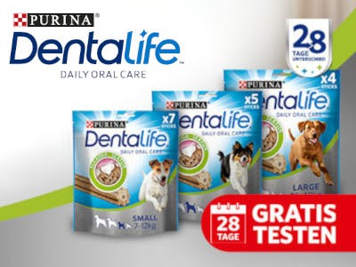 3 Packungen PURINA DENTALIFE, das Dentalife Logo und der 28Tage-Buttton in Rot