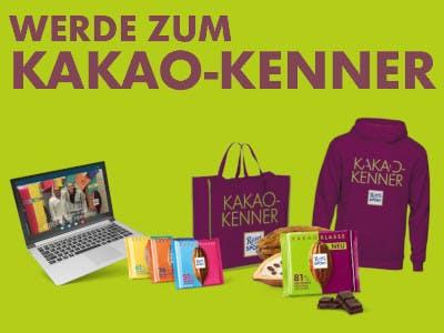 """Grüner Hintergrund, oben der GewinnspielSlogan """"werde zum Kakaokenner"""", unten die Gewinn-Details"""