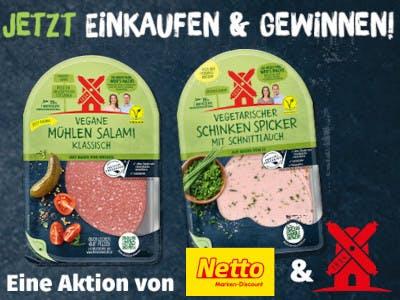 2 Packungen Ruegenwalder Aufschnitt vegetarisch, darüber der Aktionsslogan, unten Logo Netto und Logo Ruegenwalder
